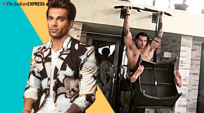 Karan Singh Grover lifts a stool with his feet while doing hanging leg raise; watch