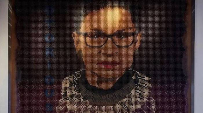 US hotel features Ruth Bader Ginsburg portrait made with 20k hand-painted tampons