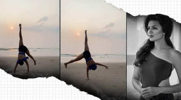 Aashka Goradia pulled off cartwheel exercise effortlessly; Watch