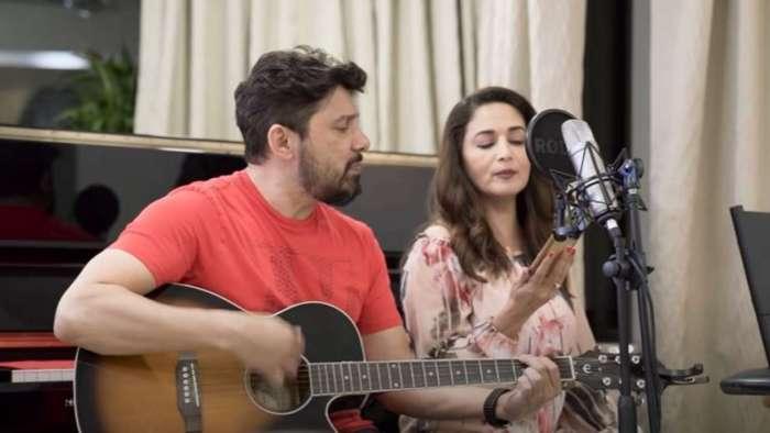 Madhuri Dixit sings Adele's 'Skyfall' as husband Sriram Nene, sons Arin and Ryan join her in 'fam-jam'