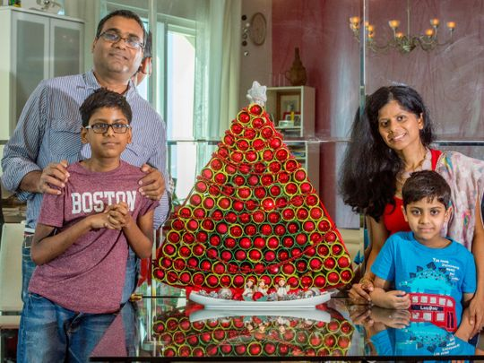Watch: Indian expat family in Dubai makes Christmas tree with discarded kitchen tissue, toilet paper holders