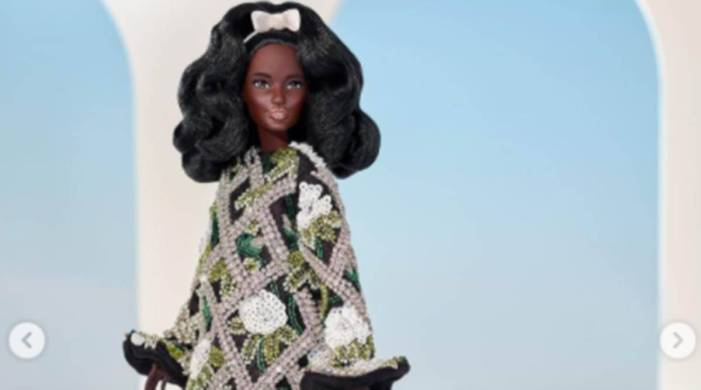Black Barbie doll wears designer Richard Quinn's new collection