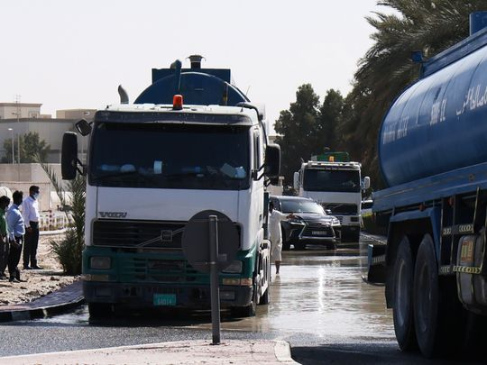Some roads in Gardens, near Ibn Battuta Mall waterlogged after water pipe burst
