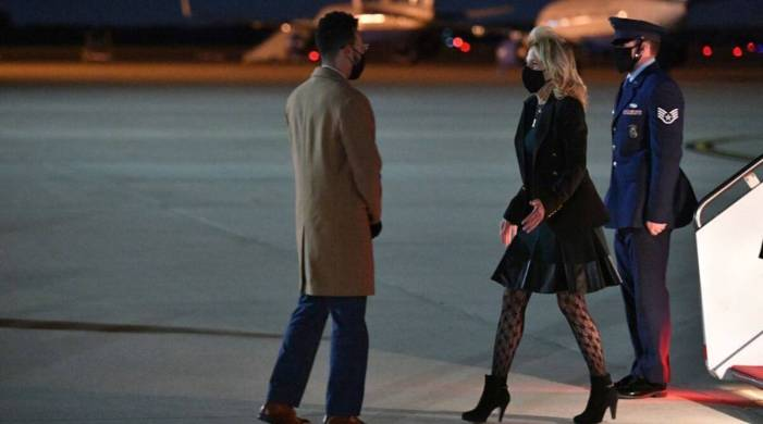 First Lady Jill Biden's fishnet stockings and black boots look divides the internet; here's why