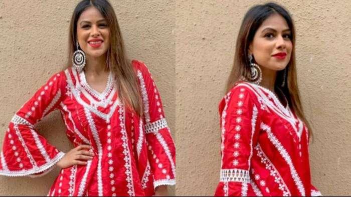Nia Sharma looks gorgeous in red sharara, drops stunning photos on Raksha Bandhan