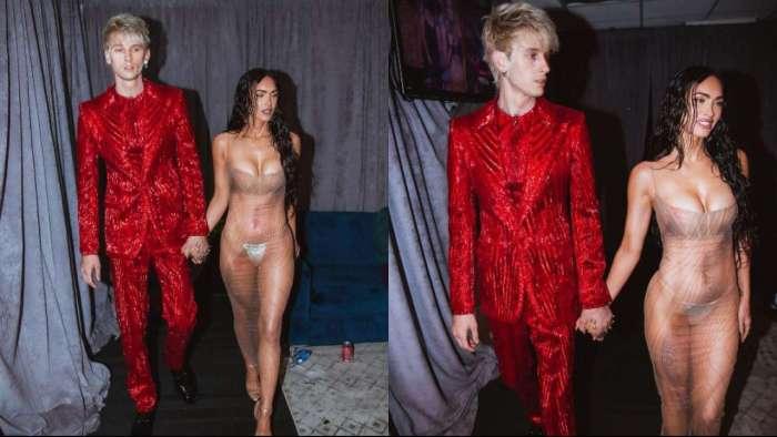Megan Fox amps up the heat at VMA 2021 in bedazzled bikini, transparent dress