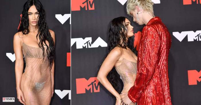 Megan Fox is breaking the internet with her red-carpet appearance at MTV VMAs in a see-through dress