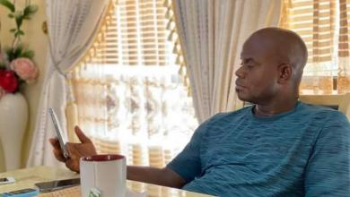 Photo of JUST IN: Yahaya Bello sips tea watching TV results of governorship poll