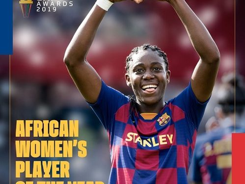BREAKING: Asisat Oshoala crowned African women's player of the year - A woman jumping up in the air - Championship