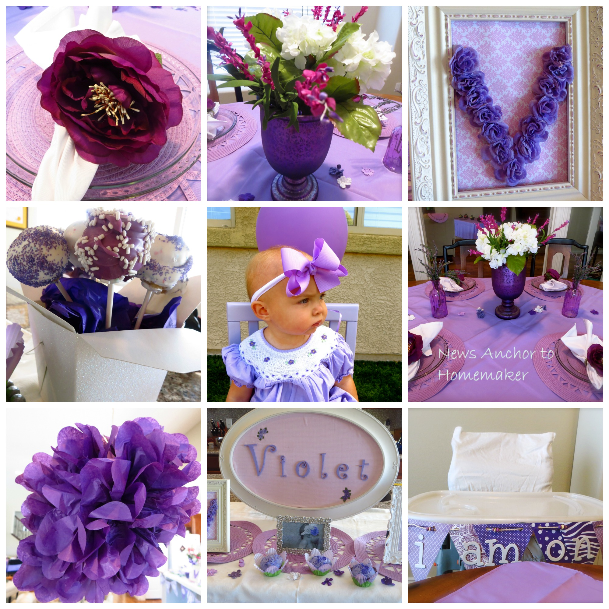 Violet S Purple Themed First Birthday Party Easy Thrifty