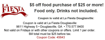 La Fiesta Coupon with link to website