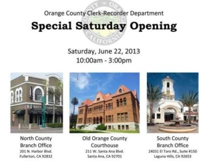 Clerk Recorder Special Saturday Opening