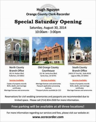OC Clerk Recorder Saturday Opening