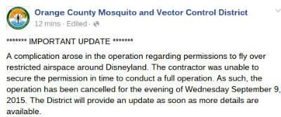 Vector Control District cancels the spraying