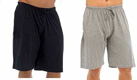Best Deals Direct UK Mens Twin Pack Lounge Shorts Stretch Jersey Sleep Night Wear Pyjamas PJ Bottoms (Medium, Black & Grey)