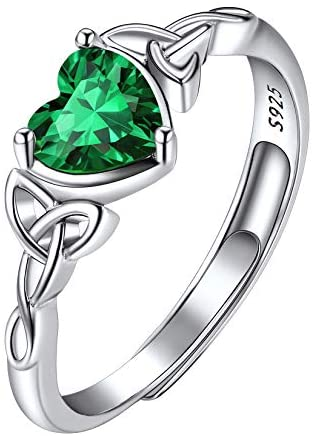 925 Sterling Silver Celtic Trinity Knot Heart Shaped Birthstone Rings, Adjustable Crystal Solitaire Engagement Wedding Ring, 12 Month Birthstone Jewelry for Women Girls