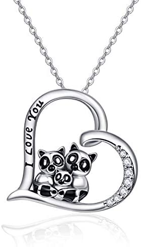 Raccoon Gifts Family Necklace Sterling Silver Necklaces for Women Mother's Day Gifts Raccoon Jewelry