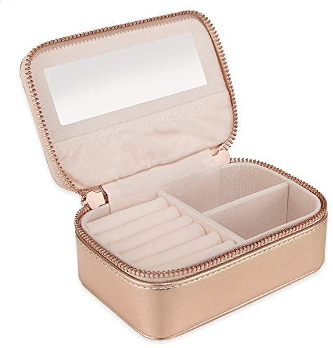Small Jewellery Box Organiser for Travel – Jewelry Case in Faux Leather for Earrings Rings Necklaces – Gifts for Women by Lily England, Rose Gold