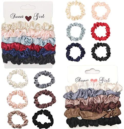 12Pcs Silk Hair Scrunchies, Satin Scrunchies Satin Hair Ties Elastic Hair Bands Ponytail Holder Solid Color Cute Scrunchies Traceless Small Scrunchies for Women Girls