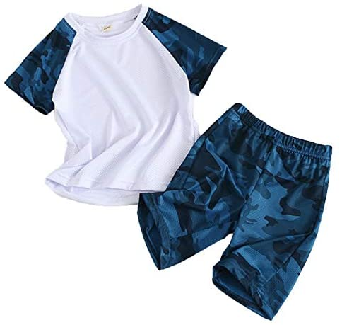 Coralup Boys Girls Clothing Sets Kids Sports Outfit Set Camouflage Tops + Shorts 2Pcs 4 Colors 2-13 Years