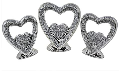 Silver Heart Sparkle Ornament Bling Crushed Diamond Gift | CRYSTALLIZED Set Of 3 Heart |Handmade Craft | Crushed Diamond Display |Gift Present for all occasion, Home Decor