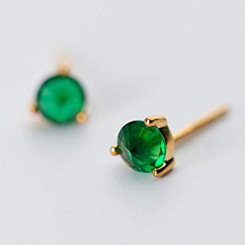 1pair 925 Sterling Silver Jewelry Fashion Green Stones Small Stud Earrings Gift For Girls Kids Teen Lady