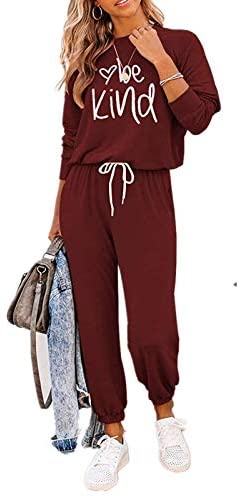2PCS Womens Tracksuit Loungewear Set Long Sleeve O-Neck Pullover Tops Long Pants Sweatpants Ladies Plus Size Gym Wear Jogging Sportswear Top and Jogging Bottom Outfits Set S-XL