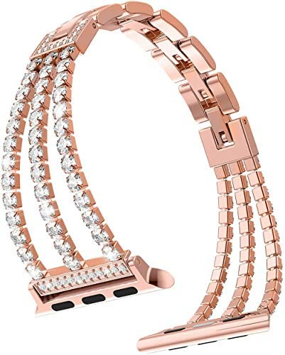 38mm 40mm Stainless Steel Jewelry IWatch Strap for Series 6, 5, 4, 3, 2, 1 Women Adjustable Crystal Diamond Bracelet Replacement Iwatches Bands
