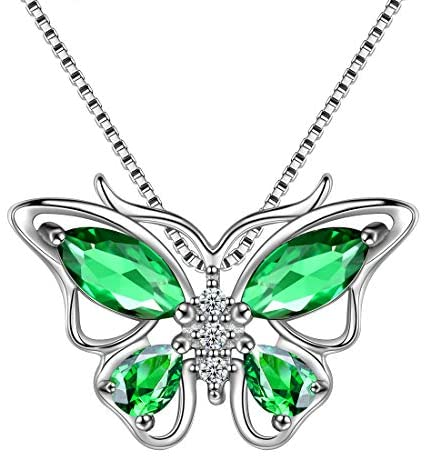 Aurora Tears 925 Sterling Sliver Butterfly Necklace Earrings Rings Birthstone Jewellery Set Pendant Dating Pendant Gifts for Women and Girls