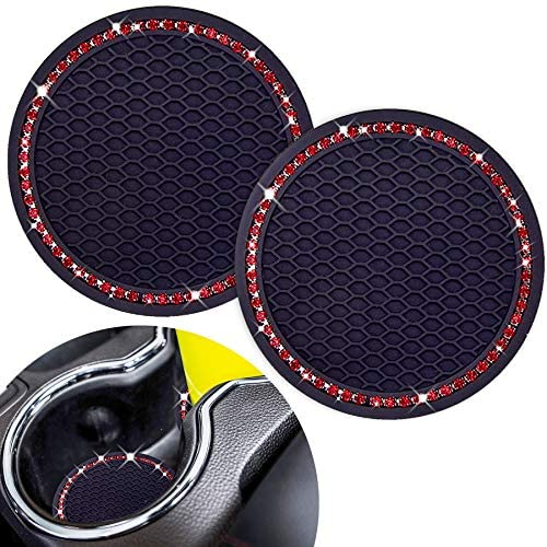 Cute Car Cup Coaster,Dermasy 2PCS Universal Vehicle Cup Holder Insert Coaster 2.75 inch Silicone Anti Slip Bling Crystal Rhinestone Auto Car Accessories for Women & Lady (Red)
