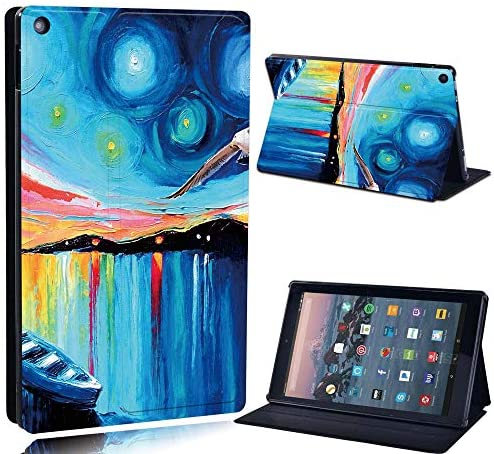 FINDING CASE For Amazon re HD 10 (5th 7th 9th Gen) Tablet – Printed PU Flip Leather Smart Lightweight Shell Stand Cover Case for re HD 10 (5th 7th 9th Gen) (boat lake paint)