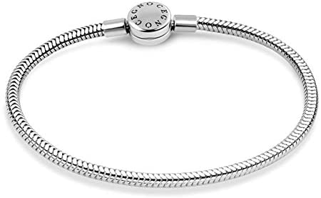 GNOCE Charm Bracelet Stainless Steel Snake Chain Metal Basic Charm Bracelet DIY Bangle with Round shaped Clasp