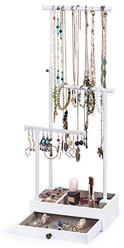 Love-KANKEI Jewelry Tree Stand, Necklace Holder Adjustale Height with Large Capacity for Necklace, Bracelet,and Earrings Storage Drawber Jewelry Organizer