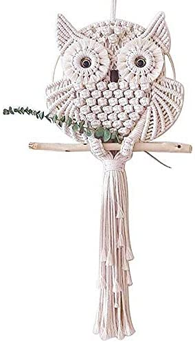 Macrame Woven Wall Hanging Tapestry,Handmade Owls Bohemian Style Tassels Wall Decoration,For Wedding Bedrooms Party,Home Decor Accessories Christmas Festival Soft Outfit Craft Gift,Large Size