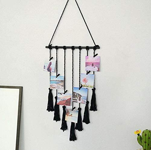 MoYouno Hanging Photo Display, Handmade Macrame Tassel Wall Hanging Pictures Organiser Home Decor, DIY with 25 Wood Clips, Perfect for White Wall Decor, Black