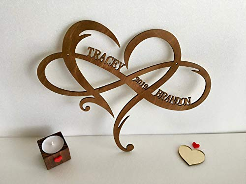 Personalised Infinity Symbol Custom Wood Wedding Sign Couple Names Established Year Heart Sign Wooden Love Heart Shape Wedding Gift Wall Hanging Door Hanger Est. Family Gift for Couples Home Decor