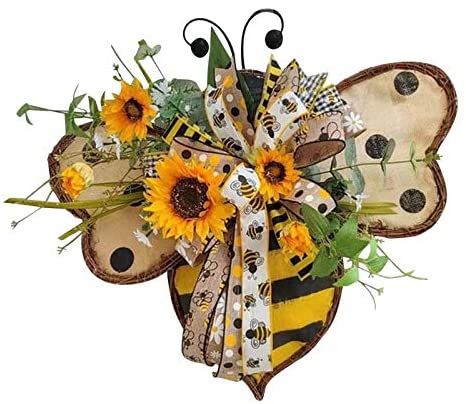 Simulation Leaf Bee Sunflower Wreath for Front Door,Artificial Garland Hanging Pendants Ornaments for Home Wall Decoration Ornaments,Spring Wreath Decor Simulation Handmade Yellow Leaf Bee Wreath