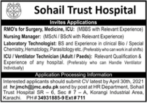 Sohail Trust Hospital Jobs 2021 in Karachi