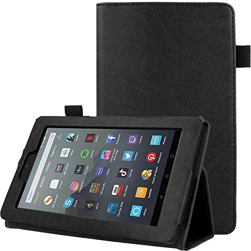 TECHGEAR Case Designed For All New Amazon Fire 7″ (9th Generation / 2019 Release) PU Leather Slim Folio Stand Case Cover with Hand Strap [Black] with Auto Wake/Sleep