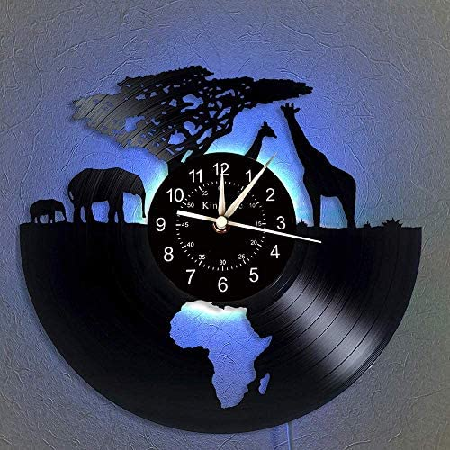 Vinyl Wall Clock, Africa – Safari animals 7 Color Night Lamp Retro Wall Clock, South African animal Gifts Handmade Home Wall Decor,A,With light