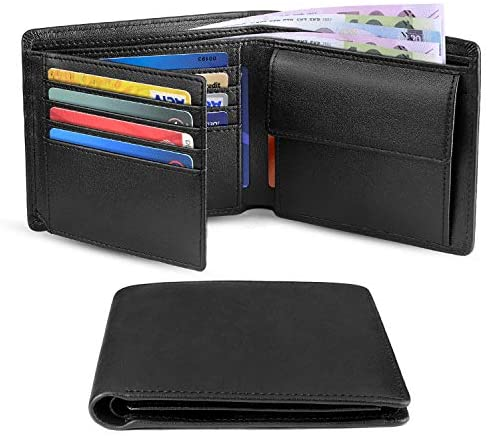 Wallets Men Genuine Leather RFID Blocking Slim Trifold Wallets with Coin Pocket, 10 Credit Card, ID Window Minimalist Wallet with Gift Box