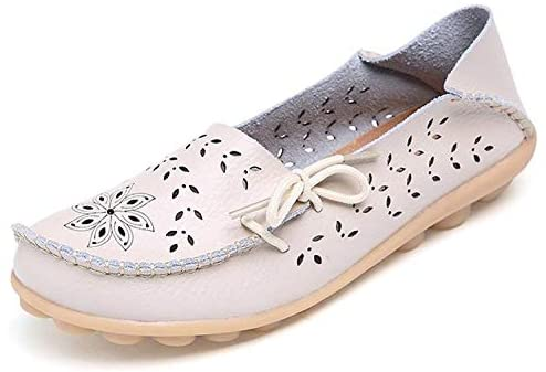 Womens Leather Moccasins Casual Loafer Flat Boat Shoes Slip On Driving Shoes