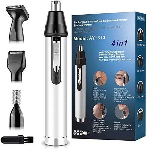 Nose Hair Trimmer for Men,2020 Upgrade Professional Nose Hair Trimmer with Vacuum Cleaning System Waterproof, 4 in 1 USB Rechargeable Painless Ear and Nose Hair Trimmer for Women