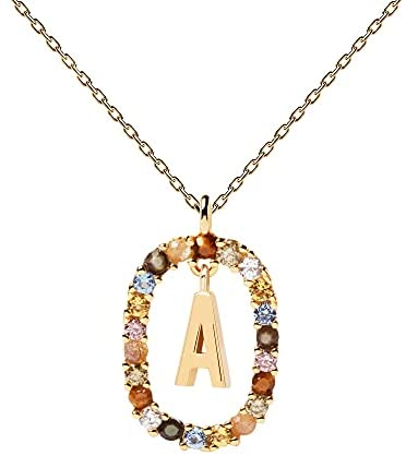 PDPAOLA – Letter A Necklace – 925 Sterling Silver 18k Gold Plated – Jewellery for Women