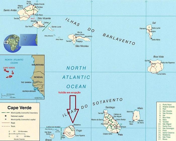Vucão ilha do Fogo mapa