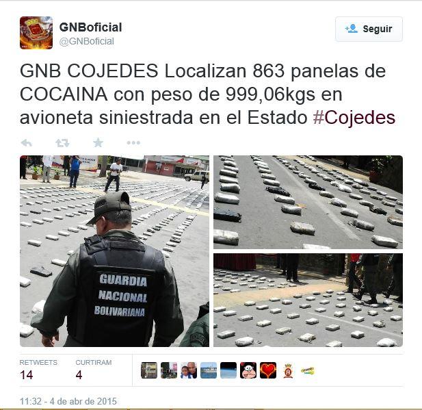 A Guarda Nacional Bolivariana colocou a droga sobre o asfalto nas instalações de uma base militar onde os jornalistas foram esclarecidos sobre esta apreensão e tiveram oportunidade de fotografar os 863 pacotes recolhidos entre os destroços do avião e os três cadáveres do piloto e dois passageiros do aparelho.