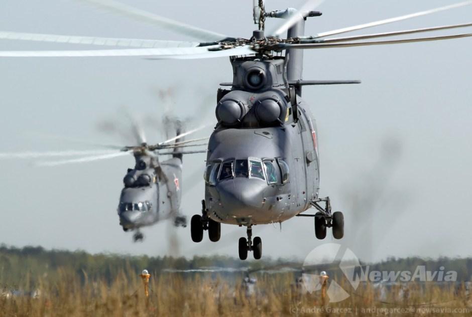 Apesar de apenas um Mi-26 ter participado no desfile, todos as aeronaves tinham exemplares substitutos prontos a entrar em acção caso necessário.