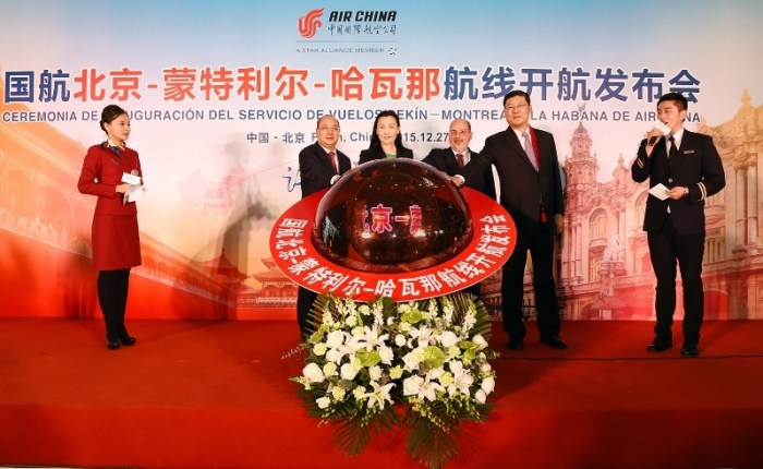 Imagem obtida em Pequim na cerimónia de lançamento do primeiro voo comercial entre a República Popular da China e a República de Cuba. Foto: Air China