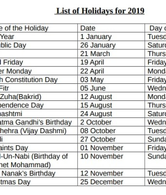 government holidays list india 2019 with hindu festival calendar list festival