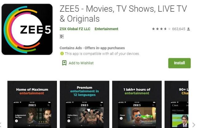 लाइव टीवी स्ट्रीमिंग ऐप zee5
